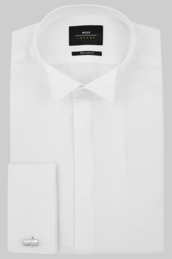 Moss London Extra Slim Fit White Dobby Wing Collar Dress Shirt