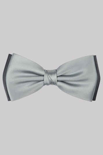 Moss 1851 Silver and Grey Contrast Bow Tie