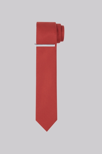 Moss London Rust Skinny Tie With Tie Clip