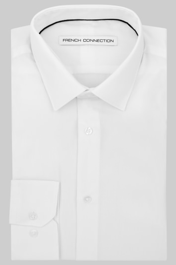 French Connection Slim Fit White Single Cuff Shirt