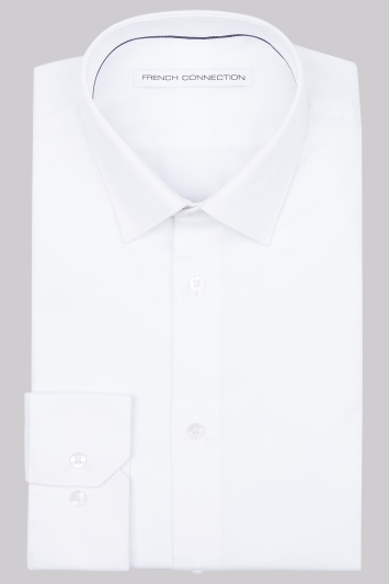 French Connection Slim Fit White Single Cuff Dobby Shirt