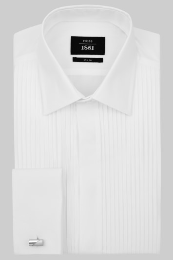 Moss 1851 Slim Fit Classic Collar Pleated White Dress Shirt