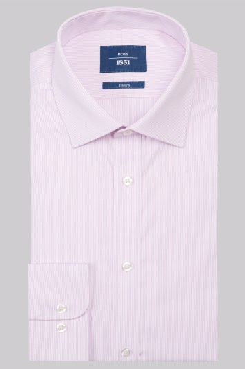 Moss 1851 Slim Fit Pink Single Cuff Skinny Stripe Shirt