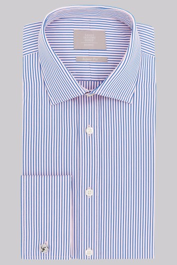 Savoy Taylors Guild Regular Fit Pink and Blue Double Cuff Narrow Stripe Shirt
