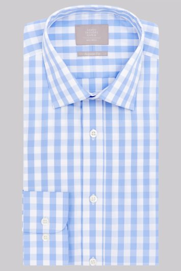Savoy Taylors Guild Regular Fit Sky Single Cuff Gingham Check Shirt