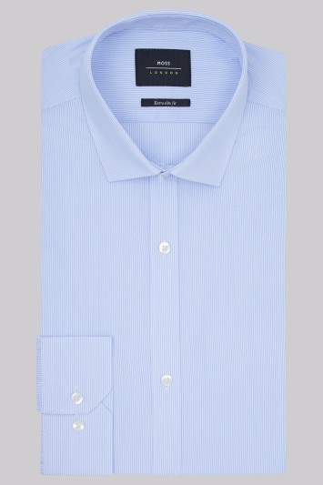 Moss London Extra Slim Fit Sky Blue Single Cuff Skinny Stripe Shirt
