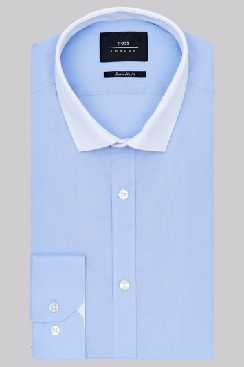 Moss London Extra Slim Fit Sky Blue Single Cuff Tonic Contrast Collar Shirt