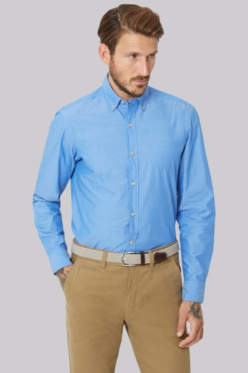 Moss 1851 Slim Fit Blue Single Cuff Button Down Collar Chambray Casual Shirt