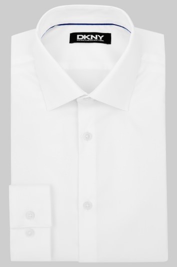 DKNY Slim Fit White Single Cuff Sateen Stretch Shirt