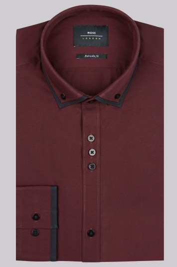 Moss London Extra Slim Fit Wine and Black Single Cuff Double Collar Shirt