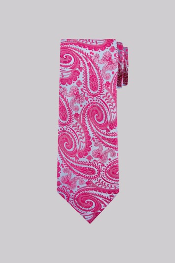 Moss 1851 Pink and Blue Paisley Silk Tie