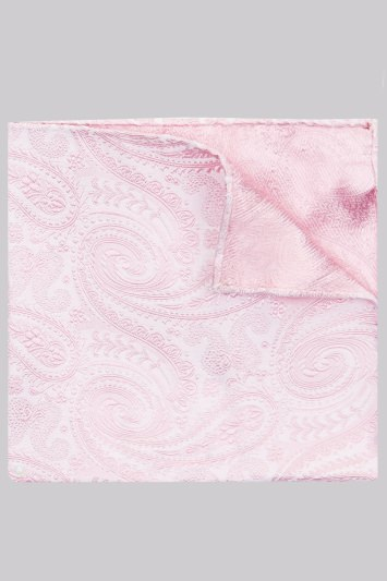 Moss 1851 Pink Paisley Silk Pocket Square