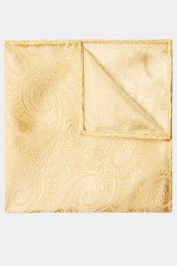 Moss 1851 Gold Paisley Silk Pocket Square