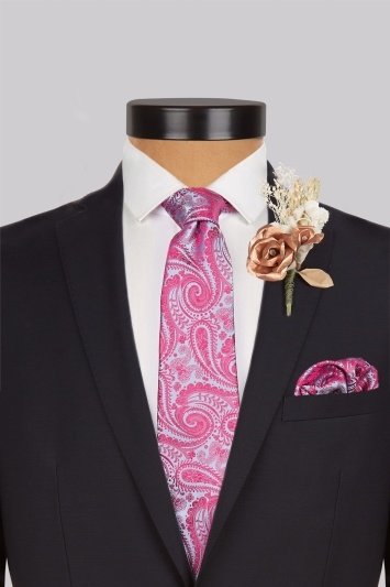 Moss 1851 Pink and Blue Paisley Silk Pocket Square