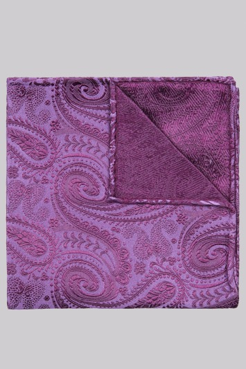 Moss 1851 Violet Paisley Silk Pocket Square