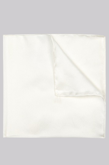 Moss 1851 White Plain Silk Pocket Square