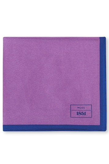 Moss 1851 Purple and Blue Bordered Silk Pocket Square