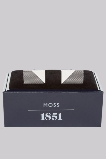 Moss 1851 Silver Diagonal Textured Cufflinks