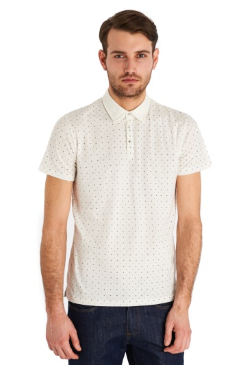 Peter Werth Danny Graph Print Short Sleeved Polo Off White