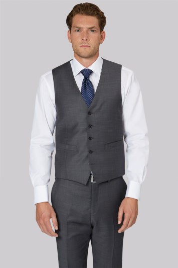 Ermenegildo Zegna Cloth Regular Fit Grey Sharkskin Waistcoat
