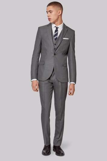 Moss London Skinny Fit Silver Notch Lapel Suit Jacket