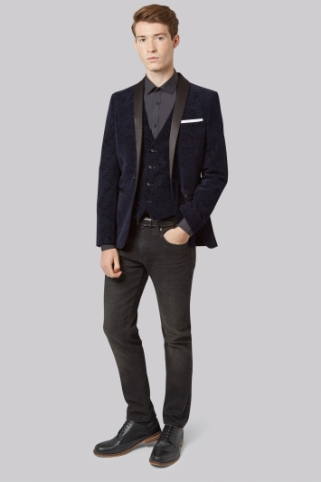 Moss London Slim Fit Navy Paisley Velvet Jacket