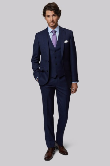 Moss 1851 Tailored Fit Navy Textured Jacket