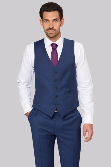 Savoy Taylors Guild Regular Fit French Blue Waistcoat