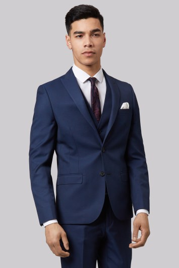 Moss London Skinny Fit Blue Sharkskin Jacket
