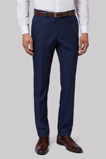 Moss London Skinny Fit Blue Sharkskin Trousers