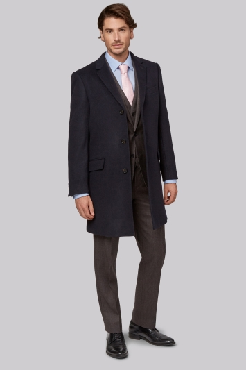 Moss 1851 Tailored Fit Navy Epsom Overcoat