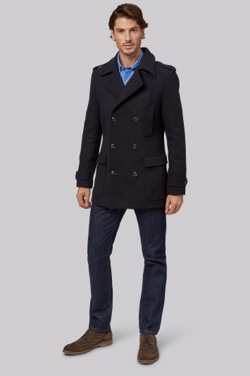 Moss 1851 Tailored Fit Navy Double Breasted Pea Coat