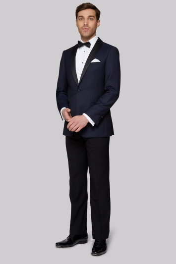 Moss 1851 Tailored Fit Navy Jacquard Tuxedo Jacket