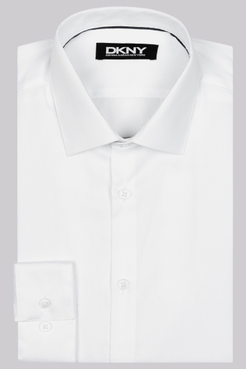 DKNY Slim Fit White Single Cuff Dobby Texture Shirt