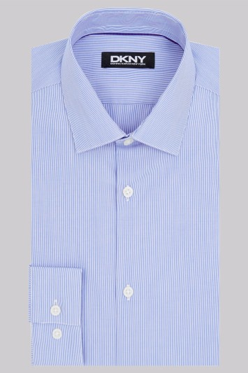 DKNY Slim Fit Navy Single Cuff Fine Stripe Shirt
