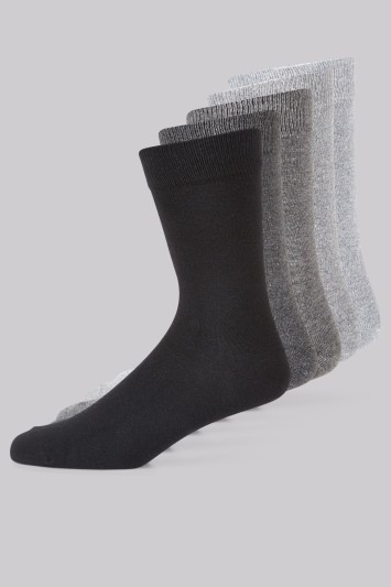 Moss 1851 Grey 5 Pack Cotton Socks