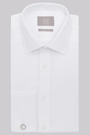 Savoy Taylors Guild Regular Fit White Double Cuff Narrow Herringbone Shirt