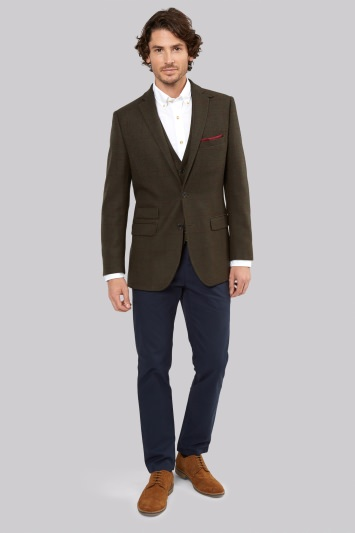 Moss 1851 Tailored Fit Olive Wine Window Pane Jacket