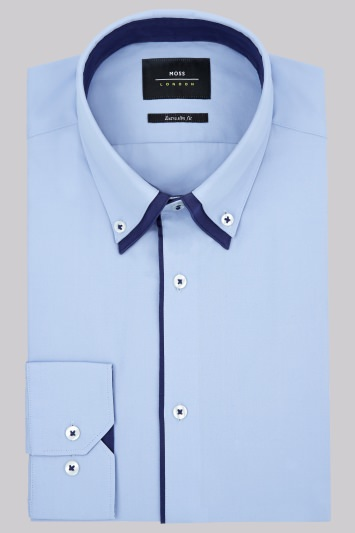 Moss London Extra Slim Fit Sky and Navy Single Cuff Double Collar Shirt