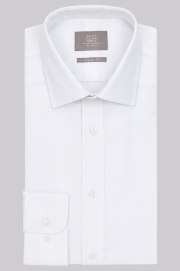 Savoy Taylors Guild Regular Fit White Single Cuff Textured Shirt