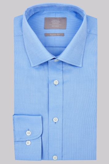 Savoy Taylors Guild Regular Fit Sky Blue Single Cuff Textured Shirt