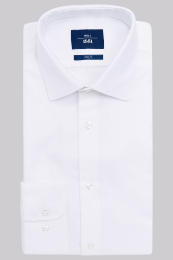 Moss 1851 Slim Fit White Single Cuff Basket Weave Shirt