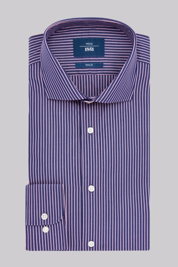 Moss 1851 Slim Fit Navy and Pink Single Cuff Stripe Shirt