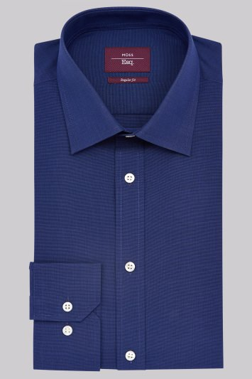Moss Esq. Regular Fit Navy Single Cuff Plain Non-Iron Shirt