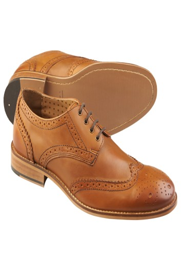 Moss London Tan Leather Brogue Shoes