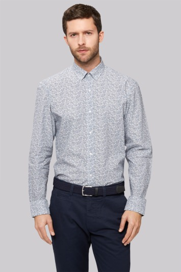 Moss 1851 Slim Fit Grey Marl Single Cuff Floral Casual Shirt