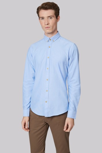 Moss London Extra Slim Fit Sky Single Cuff Oxford Button Down Casual Shirt