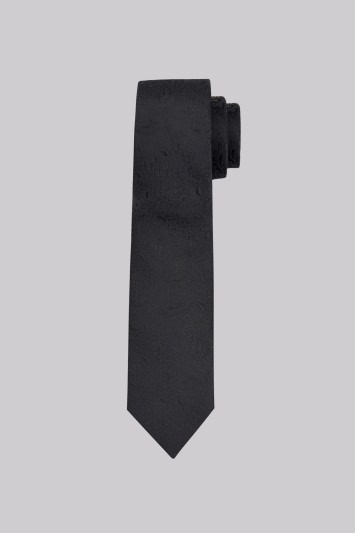 Moss London Black Paisley Silk Skinny Tie