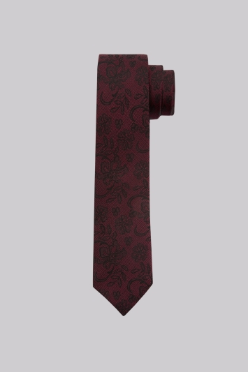 Moss London Wine Lace Floral Silk Skinny Tie