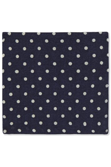 Moss 1851 Navy Reverse Spot Wool Pocket Square